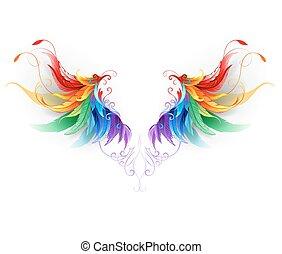 pelucheux, arc-en-ciel, ailes