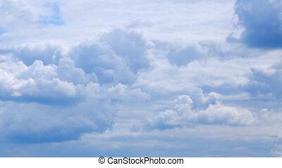 pelucheux, couches, cloudscape., bouclé, weather., air, nuage, rouler, plusieurs, venteux