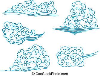 pelucheux, ensemble, nuages