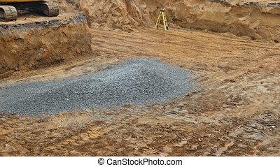 pendant, autour de, fondation, backfilling, bâtiment, excavateur, roue