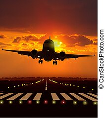 pendant, avion, fermé, prendre, coucher soleil