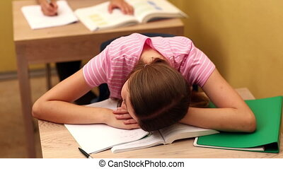 pendant, bureau, étudiant, dormir, classe