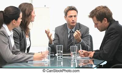 pendant, businessteam, fonctionnement, réunion, ensemble