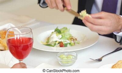 pendant, butters, déjeuner affaires