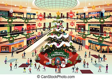 pendant, centre commercial, achats, noël, illustration