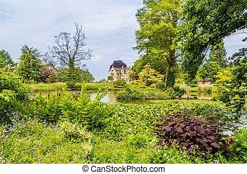 pendant, englan, coloré, château, britisch, jardin, printemps, suussex