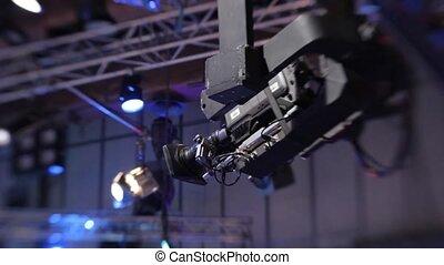 pendant, grue, appareil photo, studio télé, émission, suspension