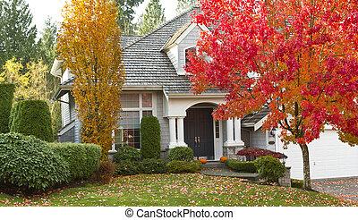 pendant, résidentiel, saison, automne, maison