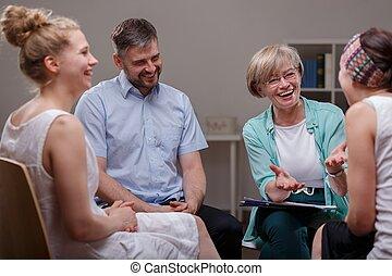 pendant, thérapeute, groupe, réunion
