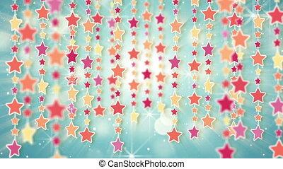 pendiller, coloré, dos, étoiles, boucle