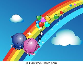 pendre, ballons, ours, teddy