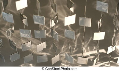 pendre, en mouvement, mur métal, formes, frais, reflet, lumière soleil