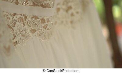 pendre, feuillage, branches, dentelle, arbre, mariage, corsage, perlé, robe