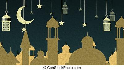 pendre, fond, dehors, animation, lune, coupure, bleu, nuit, lampions, ville, étoiles, or, sur