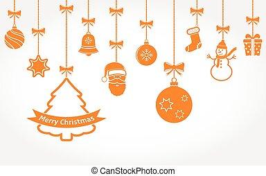 pendre, ornaments., vecteur, noël, arrière-plan.