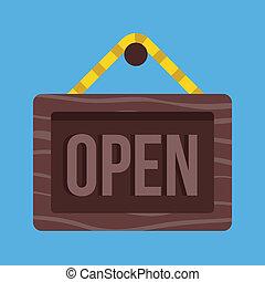 pendre, vecteur, signe ouvert, icône