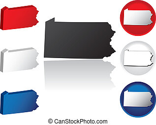 pennsylvanie, état, icônes