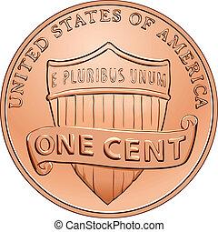 penny, une, américain, vecteur, cent, monnaie