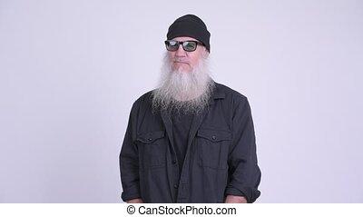 pensée, barbu, hipster, homme mûr