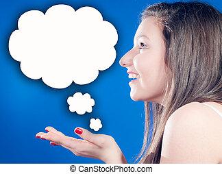 pensée, beaucoup, femme, idées