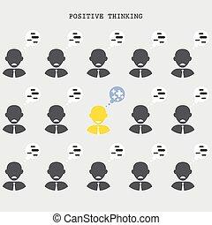 pensée, concept., businessman., talent., positif, recherche, regarder
