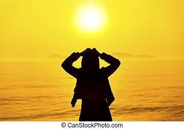pensée, coucher soleil, femme, silhouette, plage