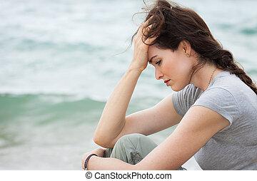 pensée, femme, désordre, profond, triste