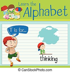 pensée, flashcard, t, lettre
