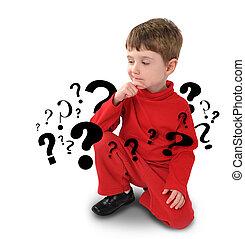 pensée, garçon, sur, question, jeune