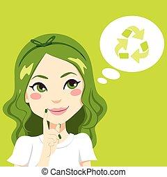 pensée, girl, vert