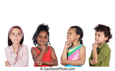 pensée, groupe, multiethnic, enfants