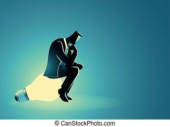 pensée, lumière, homme affaires, ampoule, séance