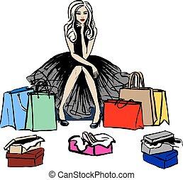 pensée, magasin, femme