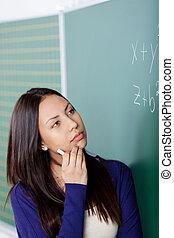 pensée, maths, sur, étudiant, formule