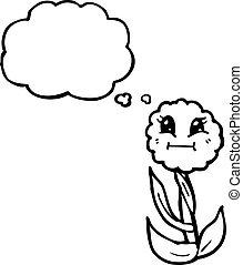 pensée, mignon, fleur, bulle, retro