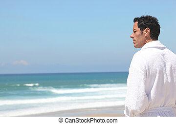 pensée, plage, homme