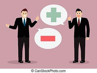 pensée, positif, homme affaires, négatif, deux