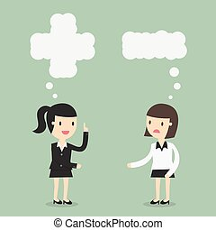 pensée, positif, négatif