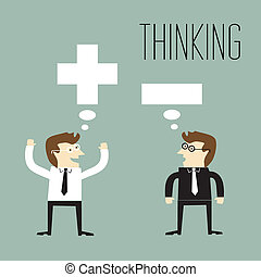 pensée, positif, negativ