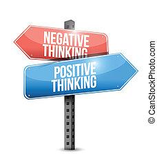 pensée, positif, rue, négatif