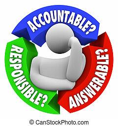 pensée, responsable, answerable, personne, accountable, bla