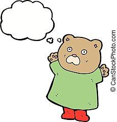 pensée, rigolote, bulle, dessin animé, ours