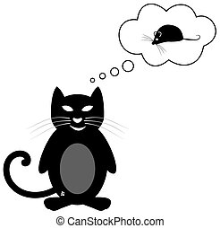 pensée, souris, chat