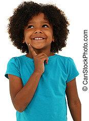 pensée, sur, noir, white., enfant, girl, adorable, sourire, geste