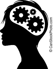 pensée, tête, silhouette, engrenages