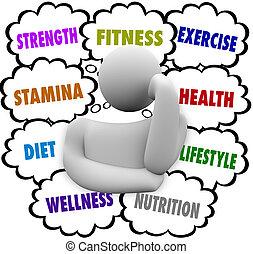 pensée, wellness, régime, personne, plan, mots, exercice forme physique
