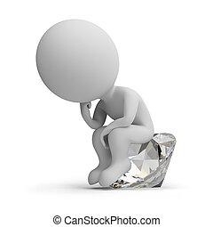 penseur, diamant, -, 3d, gens, petit