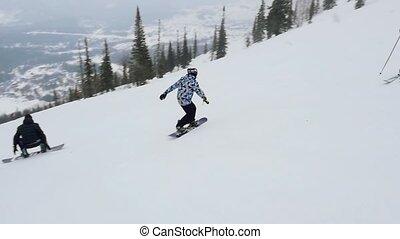 pente, deux, recours, slowmotion., snowboarders, skieurs, ski, 1920x1080, heureux