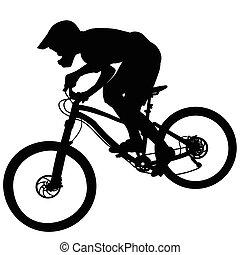 pente, montagne, silhouette, -, race vélo