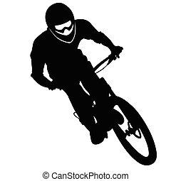 pente, montagne, silhouette, --, race vélo